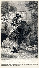 A scene from an 1886 edition of Sir Walter Scott's historical novel The Bride of Lammermoor, originally published in 1819. Although fictional, the story is based on an actual incident of the family of James Dalrymple: Dalrymple's daughter Janet was betrothed to one man in an arranged marriage, but in love with another. On her wedding night, Janet stabbed her husband. She was judged to be insane and died within a month. The book is part of Scott's Tales of My Landlord series and is the basis for Gaetano Donizetti's 1835 opera Lucia di Lammermoor.