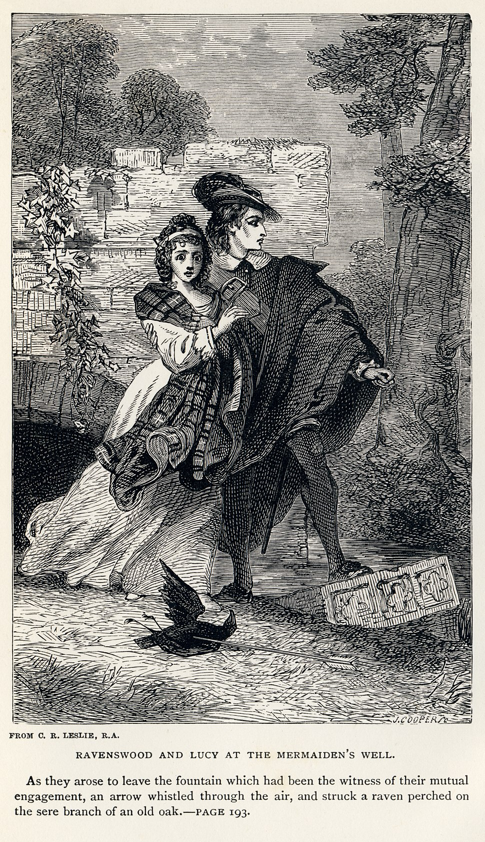 Charles Robert Leslie - Sir Walter Scott - Ravenswood and Lucy at the Mermaiden's Well - Bride of Lammermoor