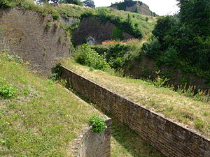 Fort Amherst -  Dry ditch beneath the Lower Cornwallis Battery