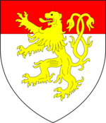 Left: Arms of Geoffrey Chaucer: Per pale argent and gules, a bend counterchanged. Right: Arms of Chaucer (modern), as adopted by his son Thomas Chaucer and as later quartered by his heirs de la Pole Dukes of Suffolk: Argent, a chief gules overall a lion rampant double queued or. Seemingly a differenced version of Burghersh, the family of his heiress wife.