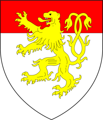 Thomas Chaucer - Arms of Chaucer: Argent, a chief gules overall a lion rampant double queued or, as later quartered by de la Pole, Duke of Suffolk
