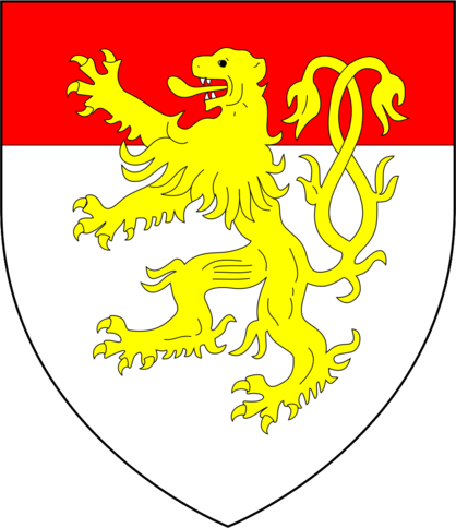 Arms of Chaucer (modern), as adopted by his son Thomas Chaucer and as later quartered by his heirs de la Pole Dukes of Suffolk: Argent, a chief gules overall a lion rampant double queued or. Seemingly a differenced version of Burghersh, the family of his heiress wife