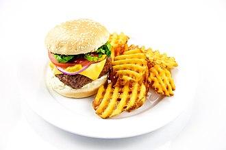 Crinkle-cutting - Cross-cut waffle fries with a hamburger
