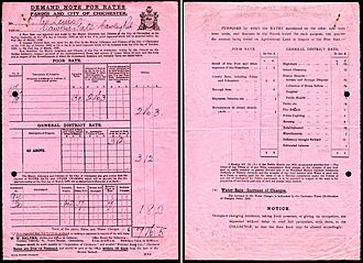 Poor rate - A 1928/29 local taxes bill from the City of Chichester showing a levy for the Poor Rate.