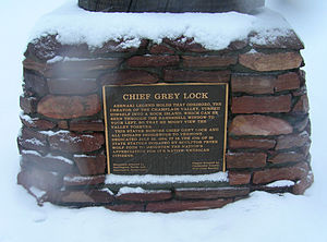 Gray Lock - Tablet of the Chief Grey Lock monument, Battery Park (Burlington, Vermont).