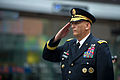 Chief of Staff of the Army Gen. Raymond T. Odierno stands for the national anthem during a ceremony celebrating the U.S. Army's 237th birthday in Times Square June 14, 2012, in New York 120614-A-AO884-087.jpg
