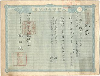 Land Tax Reform (Japan 1873) - Image: Chiken akita face