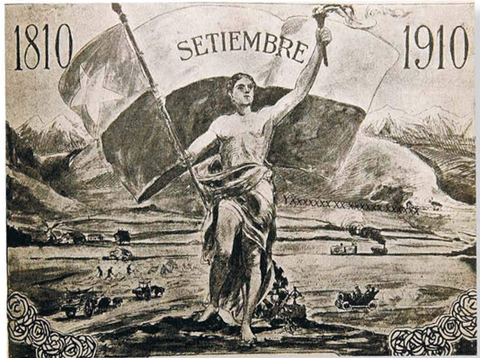 Official poster of the Centennial of Chile.