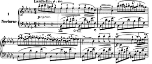 Nocturnes, Op. 9 (Chopin) - The opening bars and main theme of No.1.