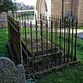 Church of St Mary the Virgin, Sheering, Essex ~ churchyard fenced tomb.jpg