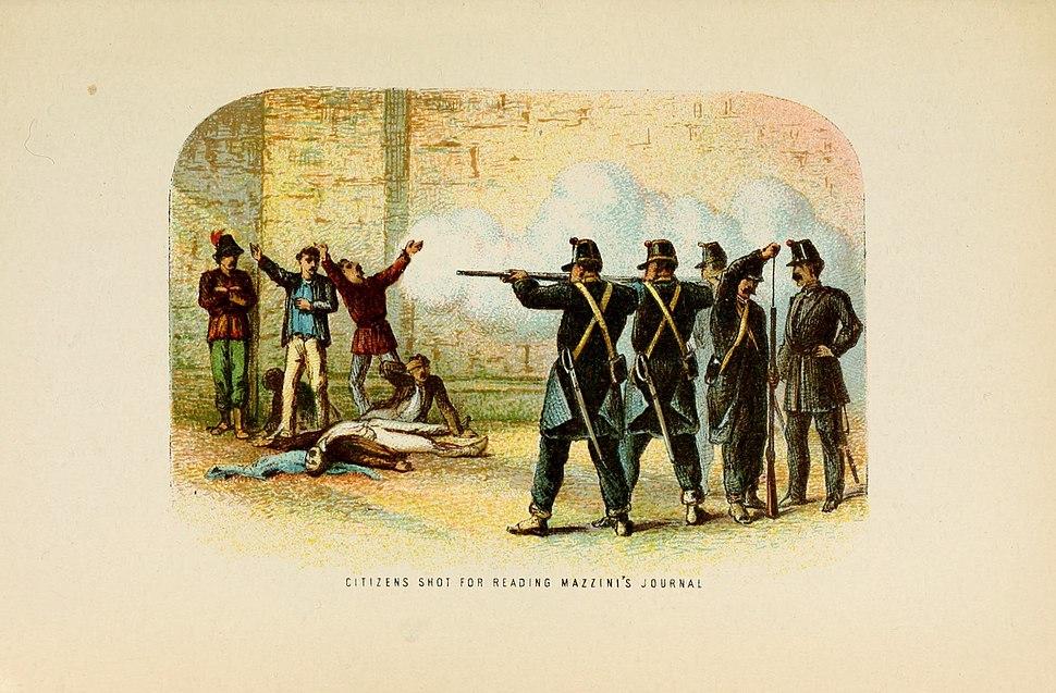 Citizens shot for reading Mazzini's Journal