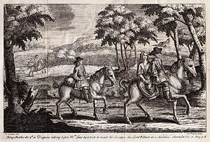 The History of the Rebellion - King Charles the 2d in Disguise rideing before Mrs Lane by which he made his Escape; the Lord Wilmor at a distance. Clarendon Vol: 3. Pag. 418.
