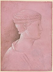 Bust of a Woman (recto); Head of a Man, Two Studies of a Woman's Profile, and a Study of An Angel (verso)