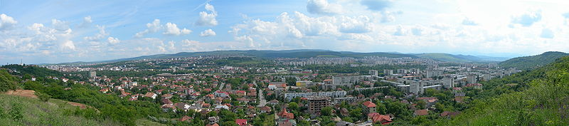 "Panorama over western districts, taken from ""Tăietura Turcului"""