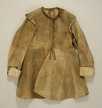 Buff coat - English buff coat 1630-1640 showing false fastening of silver tape down the front - Metropolitan Museum of Art