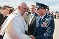 Col. Brad Hoagland welcomes Pope Francis on the base flightline, Sept. 24, 2015.jpg