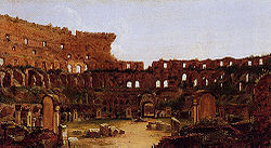Interior of the Colosseum, Rome. Thomas Cole, 1832. Note the Stations of the Cross around the arena and the extensive vegetation, both removed later in the 19th century.