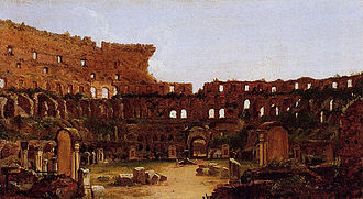 Colosseum - Interior of the Colosseum, Rome (1832) by Thomas Cole, showing the Stations of the Cross around the arena and the extensive vegetation