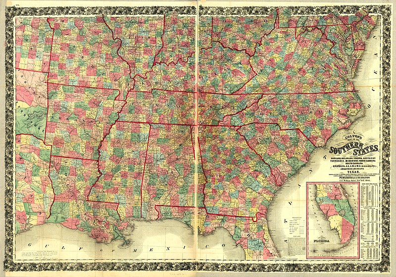 Southern Louisiana Map.File Colton S Map Of The Southern States Including Maryland