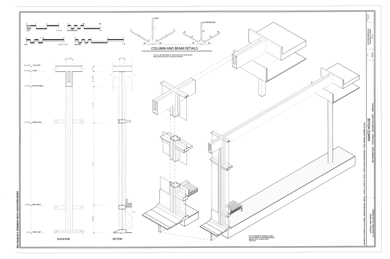 file column and beam details hantz house 855 fairview drive