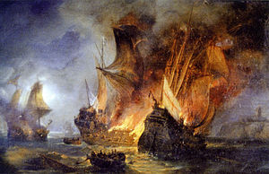Battle of Saint-Mathieu - The simultaneous destruction of the Cordelière and the Regent depicted by Pierre-Julien Gilbert