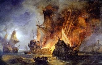 Battle of Saint-Mathieu - The simultaneous destruction of the Cordelière and the Regent depicted by Pierre-Julien Gilbert