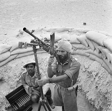 Indian troops man a Bren gun on an anti-aircraft mounting, Western Desert, 18 April 1941. Commonwealth Forces in North Africa E2502.jpg