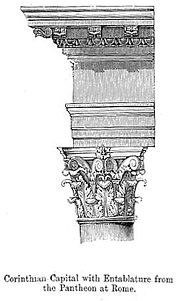 The Corinthian order as used for the portico of the Pantheon, Rome provided a prominent model for Renaissance and later architects, through the medium of engravings.