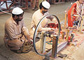 Correctional Activities in Central Jail Faisalabad, Pakistan in 2010 - Convicted prisoners working on a traditional manual Charkha.jpg