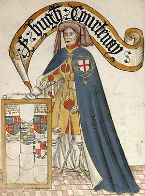 Hugh Courtenay (died 1348) - Hugh Courtenay from the Bruges Garter Book, 1430/1440, BL Stowe 594. The Courtenay arms are displayed on his tabard under his Garter robe