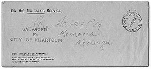 "O.H.M.S. - Australian official mail, franked ""On His Majesty's Service"", crash cover salvaged from the 1935 Imperial Airways ""City of Khartoum"" aircraft crash at Alexandria during an England to Australia flight."