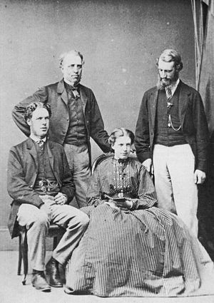 Mandell Creighton - The Creighton family in Carlisle ca. 1870 when Mandell was 26.  Left to right: James, Robert, Mary Ellen (Polly), and Mandell.