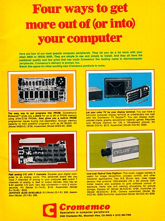 Cromemco - Cromemco advertisement on Page 1 of Byte Magazine, September 1976