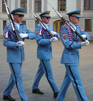 Theodor Pištěk (costume designer) - Czech guards outside Prague Castle. Uniforms designed by Theodor Pištěk.