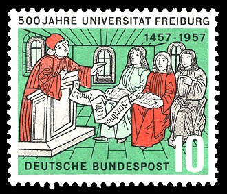 University of Freiburg - Postage stamp by Deutsche Bundespost to commemorate the university's 500th anniversary in 1957