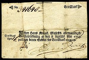 Danish rigsdaler - Image: DEN A14 Kingdom of Denmark 1 Mark (1713)