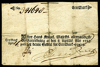 Danish rigsdaler - The first issue of Danish paper currency was by the decree of 8 April 1713. Note were issued in four groups. The second and third groups were a combination of Rigsdalers and Marks where one Rigsdaler equaled six Marks.