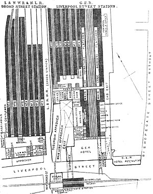 Broad Street railway station (London) - Plan of Broad Street and Liverpool Street stations in 1888
