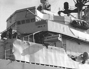 USS Claude V. Ricketts - Damage received while fighting fires on Belknap.