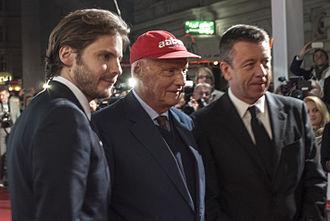 Rush (2013 film) - Daniel Brühl, Niki Lauda and Peter Morgan at the premiere of Rush in Vienna, Austria.