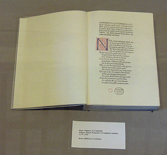Foligno - First edition of the Divine Comedy, printed in Foligno in 1472.