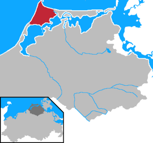 Darß - Location of the Darß in Mecklenburg-Western Pomerania.