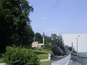 Babelsberg Park - The steam-powered pump house in Babelsberg Park / Today and before 1989 with the border wall (photo montage)