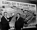 David Dubinsky shows plans for the ILGWU gift to Histadrut in Israel, the planned building of the Kupat Holim Central Hospital in Beersheba, Israel. (5278463055).jpg