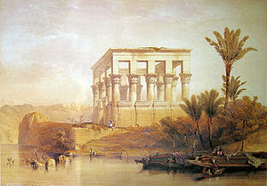 Hypaethral - The Hypaethral Temple of Philae, a romantic depiction by David Roberts painted in 1838
