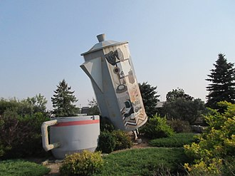 Davidson, Saskatchewan - Coffee pot monument in Davidson, Saskatchewan. Approximately 24 feet tall, and would hold 150,000 cups of coffee - claimed to be the world's largest.Erected in 1996, and featured on a Canadian postage stamp in 2010, the town is now considering renovation of the monument.