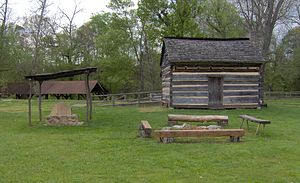 "John Crockett (frontiersman) - A replica of John Crockett's family cabin where David ""Davy"" Crockett was born, (now the Davy Crockett Birthplace State Park)"