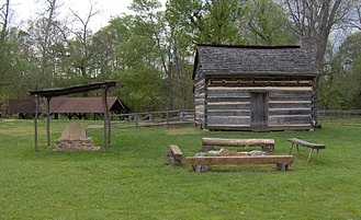 David Crockett Birthplace State Park - Cabin replica and demonstration area
