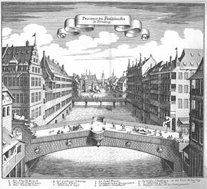 Timeline of Nuremberg - Fleisch Bridge over Pegnitz River, Nuremberg, 17th century (from Topographia Germaniae)