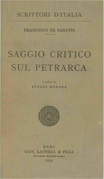 File:De Sanctis, Francesco – Saggio critico sul Petrarca, 1954 – BEIC 1805656.pdf